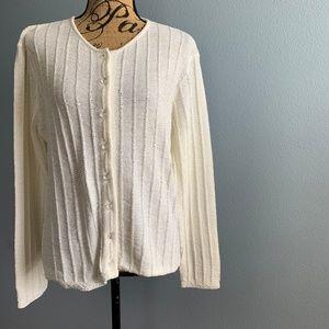 Oscar de la Renta Ivory Cardigan Sweater Size L